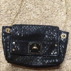 Milly Black leather embossed crossbody or shoulder
